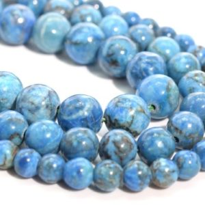 Shop Turquoise Round Beads! Denim Blue Turquoise Loose Beads Round Shape 6mm 8mm 10mm | Natural genuine round Turquoise beads for beading and jewelry making.  #jewelry #beads #beadedjewelry #diyjewelry #jewelrymaking #beadstore #beading #affiliate #ad