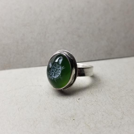Turtle Intaglio 12-13mm Serpentine Ring - Any Size - Made To Order