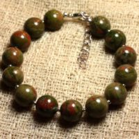 Bracelet 925 Sterling Silver And Stone – Unakite 10mm | Natural genuine Gemstone jewelry. Buy crystal jewelry, handmade handcrafted artisan jewelry for women.  Unique handmade gift ideas. #jewelry #beadedjewelry #beadedjewelry #gift #shopping #handmadejewelry #fashion #style #product #jewelry #affiliate #ad