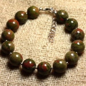 Shop Unakite Bracelets! Bracelet 925 sterling silver and stone – Unakite 10mm | Natural genuine Unakite bracelets. Buy crystal jewelry, handmade handcrafted artisan jewelry for women.  Unique handmade gift ideas. #jewelry #beadedbracelets #beadedjewelry #gift #shopping #handmadejewelry #fashion #style #product #bracelets #affiliate #ad