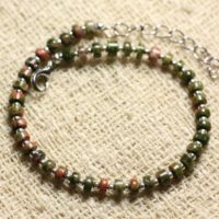Bracelet 925 Sterling Silver And Gemstone – Unakite Rondelle 4x2mm | Natural genuine Gemstone jewelry. Buy crystal jewelry, handmade handcrafted artisan jewelry for women.  Unique handmade gift ideas. #jewelry #beadedjewelry #beadedjewelry #gift #shopping #handmadejewelry #fashion #style #product #jewelry #affiliate #ad