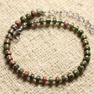 Shop Unakite Bracelets! Bracelet 925 sterling silver and gemstone – Unakite Rondelle 4x2mm | Natural genuine Unakite bracelets. Buy crystal jewelry, handmade handcrafted artisan jewelry for women.  Unique handmade gift ideas. #jewelry #beadedbracelets #beadedjewelry #gift #shopping #handmadejewelry #fashion #style #product #bracelets #affiliate #ad