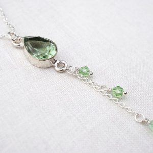 Shop Green Amethyst Jewelry! ON VACATION, Unique Green Amethyst Necklace Prasiolite Teardrop Pendant Thin Chain Tassel Necklace dainty Sterling Silver chain | Natural genuine Green Amethyst jewelry. Buy crystal jewelry, handmade handcrafted artisan jewelry for women.  Unique handmade gift ideas. #jewelry #beadedjewelry #beadedjewelry #gift #shopping #handmadejewelry #fashion #style #product #jewelry #affiliate #ad