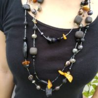 Unique Necklace, With Jet, Amber, Freshwater Pearls.pyrites And More. | Natural genuine Gemstone jewelry. Buy crystal jewelry, handmade handcrafted artisan jewelry for women.  Unique handmade gift ideas. #jewelry #beadedjewelry #beadedjewelry #gift #shopping #handmadejewelry #fashion #style #product #jewelry #affiliate #ad