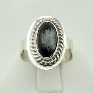 Shop Snowflake Obsidian Rings! Unique Snowflake Obsidian Cabochon in a Vintage Sterling Silver Ring FREE SHIPPING! #SNOWFLAKE-SR15 | Natural genuine Snowflake Obsidian rings, simple unique handcrafted gemstone rings. #rings #jewelry #shopping #gift #handmade #fashion #style #affiliate #ad