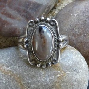 Shop Petrified Wood Rings! Vintage Southwestern Bell Trading Co Petrified Wood Ring Size 6 1 / 4 Hallmarked Sterling | Natural genuine Petrified Wood rings, simple unique handcrafted gemstone rings. #rings #jewelry #shopping #gift #handmade #fashion #style #affiliate #ad