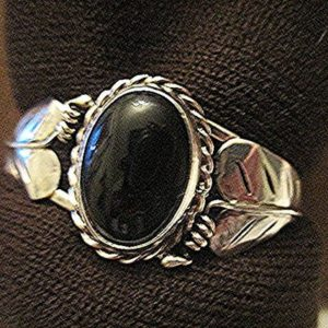 Shop Jet Bracelets! Vintage sterling silver cuff bracelet with jet cabochon, silver leaves signed LE | Natural genuine Jet bracelets. Buy crystal jewelry, handmade handcrafted artisan jewelry for women.  Unique handmade gift ideas. #jewelry #beadedbracelets #beadedjewelry #gift #shopping #handmadejewelry #fashion #style #product #bracelets #affiliate #ad