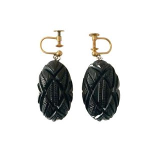 Shop Jet Earrings! Vintage Whitby Jet Carved Earrings | Natural genuine Jet earrings. Buy crystal jewelry, handmade handcrafted artisan jewelry for women.  Unique handmade gift ideas. #jewelry #beadedearrings #beadedjewelry #gift #shopping #handmadejewelry #fashion #style #product #earrings #affiliate #ad