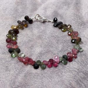 Shop Watermelon Tourmaline Bracelets! multi tourmaline beads bracelet, 4x6mm multi color tourmaline beaded bracelet, watermelon tourmaline faceted pear bead bracelet 6 to 8 inch | Natural genuine Watermelon Tourmaline bracelets. Buy crystal jewelry, handmade handcrafted artisan jewelry for women.  Unique handmade gift ideas. #jewelry #beadedbracelets #beadedjewelry #gift #shopping #handmadejewelry #fashion #style #product #bracelets #affiliate #ad