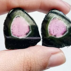 22x24mm Rare Watermelon Tourmaline Rough Slices,OOAK Matched Pair Watermelon Tourmaline Slices, Loose Tourmaline For Jewelry | Natural genuine beads Gemstone beads for beading and jewelry making.  #jewelry #beads #beadedjewelry #diyjewelry #jewelrymaking #beadstore #beading #affiliate #ad