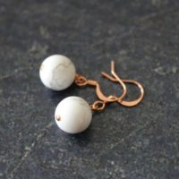 White Copper Earrings, White Howlite Earrings, White Howlite Copper Earrings, White Jewelry, White Howlite Jewelry, 10mm White Globe | Natural genuine Gemstone jewelry. Buy crystal jewelry, handmade handcrafted artisan jewelry for women.  Unique handmade gift ideas. #jewelry #beadedjewelry #beadedjewelry #gift #shopping #handmadejewelry #fashion #style #product #jewelry #affiliate #ad