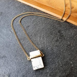 Shop Howlite Necklaces! White Howlite Necklace  Howlite Necklace  Natural Stone Necklace  Gold Plated Necklace  Crystal Pendant  Crystal Necklace | Natural genuine Howlite necklaces. Buy crystal jewelry, handmade handcrafted artisan jewelry for women.  Unique handmade gift ideas. #jewelry #beadednecklaces #beadedjewelry #gift #shopping #handmadejewelry #fashion #style #product #necklaces #affiliate #ad