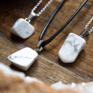 White Howlite Necklace Pendant Chunky Polished Quartz Natural Crystal Healing Mens  Gift Birthday Aries April Taurus | Natural genuine Gemstone necklaces. Buy handcrafted artisan men's jewelry, gifts for men.  Unique handmade mens fashion accessories. #jewelry #beadednecklaces #beadedjewelry #shopping #gift #handmadejewelry #necklaces #affiliate #ad