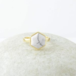 Shop Howlite Jewelry! White Howlite Ring, White Howlite 10mm Hexagon Gemstone Ring, 18k Gold Plated Ring, Silver Ring, Gemstone Jewelry, jewelry Gift For Mother | Natural genuine Howlite jewelry. Buy crystal jewelry, handmade handcrafted artisan jewelry for women.  Unique handmade gift ideas. #jewelry #beadedjewelry #beadedjewelry #gift #shopping #handmadejewelry #fashion #style #product #jewelry #affiliate #ad