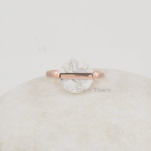 Shop Howlite Jewelry! White Howlite Ring, White Howlite 12x12mm Round Flat Shape Gemstone, 925 Silver Ring, Elegant Rose Gold Plated Ring, Unique Ring for Women | Natural genuine Howlite jewelry. Buy crystal jewelry, handmade handcrafted artisan jewelry for women.  Unique handmade gift ideas. #jewelry #beadedjewelry #beadedjewelry #gift #shopping #handmadejewelry #fashion #style #product #jewelry #affiliate #ad