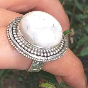 Shop Howlite Jewelry! White Howlite Ring, 925 Sterling Silver , 20mm Round stone Ring, wide band Ring, Cocktail Ring, White turquoise ring, white Buffalo jewelry | Natural genuine Howlite jewelry. Buy crystal jewelry, handmade handcrafted artisan jewelry for women.  Unique handmade gift ideas. #jewelry #beadedjewelry #beadedjewelry #gift #shopping #handmadejewelry #fashion #style #product #jewelry #affiliate #ad