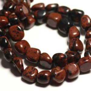 Wire 39cm 48pc env – stone beads – Brown Mahogany 6-10mm mahogany Obsidian | Natural genuine chip Mahogany Obsidian beads for beading and jewelry making.  #jewelry #beads #beadedjewelry #diyjewelry #jewelrymaking #beadstore #beading #affiliate #ad