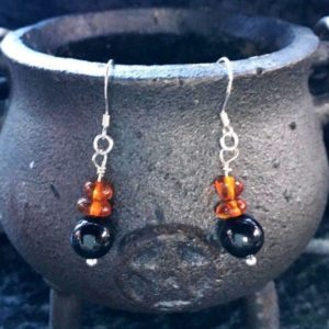 Shop Jet Earrings! Witches Initiation Gift, Baltic Amber & Lignite Jet Earrings, Gift For Her, Witchcraft, Pagan, Wiccan, Witch | Natural genuine Jet earrings. Buy crystal jewelry, handmade handcrafted artisan jewelry for women.  Unique handmade gift ideas. #jewelry #beadedearrings #beadedjewelry #gift #shopping #handmadejewelry #fashion #style #product #earrings #affiliate #ad