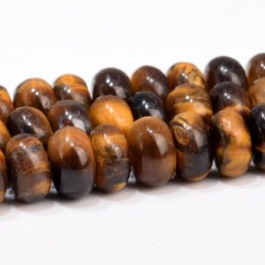 Shop Tiger Eye Rondelle Beads! Yellow Tiger Eye Beads Grade AA Genuine Natural Gemstone Rondelle Loose Beads 6x4MM 8x5MM Bulk Lot Options | Natural genuine rondelle Tiger Eye beads for beading and jewelry making.  #jewelry #beads #beadedjewelry #diyjewelry #jewelrymaking #beadstore #beading #affiliate #ad