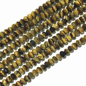 Shop Tiger Eye Rondelle Beads! Yellow Tiger Eye Faceted Beads, Natural Gemstone Beads, Rondelle Stone Spacer Beads 4x6mm 5x8mm 15'' | Natural genuine rondelle Tiger Eye beads for beading and jewelry making.  #jewelry #beads #beadedjewelry #diyjewelry #jewelrymaking #beadstore #beading #affiliate #ad