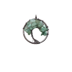 """Shop Aventurine Chip & Nugget Beads! 1.15"""" (29mm) Gunmetal Plated Copper Wire Wrapped Tree of Life Focal Pendant with Green Aventurine Chip Beads – Sold Individually/Random 