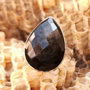 Shop Golden Obsidian Rings! 925 Sterling Silver Handmade Ring With Natural Golden Sheen Obsidian Checker Cut Gemstone,925 Silver Jewelry,Minimalist Silver Ring | Natural genuine Golden Obsidian rings, simple unique handcrafted gemstone rings. #rings #jewelry #shopping #gift #handmade #fashion #style #affiliate #ad