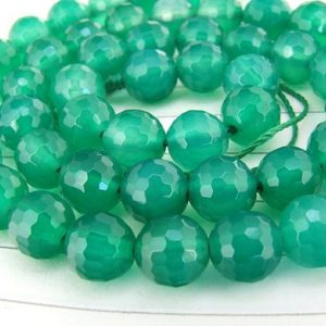 """Shop Agate Faceted Beads! Superb Faceted Green Agate Beads Round Agate Jewelry  8mm about 50Pieces  gemstone beads 15.5"""" in length 