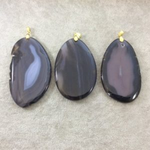 Shop Agate Pendants! Natural Black/Gray Agate Freeform Shaped Pendant with Gold Plated Bail – Measuring – 65-80mm Long, Approx. – Sold Individually, Random   Natural genuine Agate pendants. Buy crystal jewelry, handmade handcrafted artisan jewelry for women.  Unique handmade gift ideas. #jewelry #beadedpendants #beadedjewelry #gift #shopping #handmadejewelry #fashion #style #product #pendants #affiliate #ad