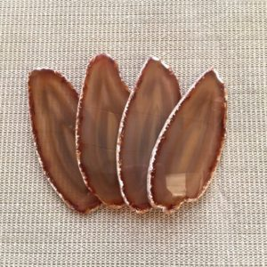 "Shop Raw & Rough Agate Stones! 4pcs 5.7"" Large Agate Slices Brown Agate Geode Slice Long Agate Slice For Frame Mineral Specimen Agate Art Home Decor Cut From Same Stone 3# 