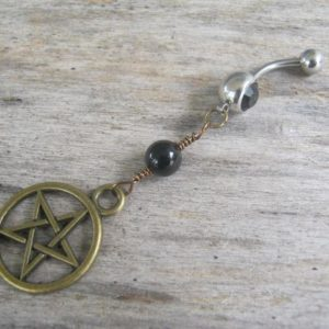 Shop Agate Rings! Pentacle Belly Ring, BRONZE Agate Belly Button Ring, Birthstone Navel Piercing, Wicca Body Jewelry, Supernatural Pentagram Navel Ring, Pagan | Natural genuine Agate rings, simple unique handcrafted gemstone rings. #rings #jewelry #shopping #gift #handmade #fashion #style #affiliate #ad
