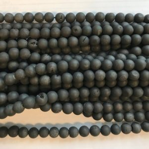 "Druzy Agate 8mm Round Gemstone Beads—15.5""–1 strand/3 strands 