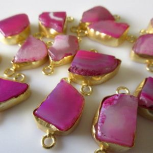 Shop Agate Shapes! 10pcs Pink Agate Slice Bezel Connectors, Free Form Druzy Connectors, Wholesale Gemstone Connectors, Gold Vermeil Connectors | Natural genuine stones & crystals in various shapes & sizes. Buy raw cut, tumbled, or polished gemstones for making jewelry or crystal healing energy vibration raising reiki stones. #crystals #gemstones #crystalhealing #crystalsandgemstones #energyhealing #affiliate #ad