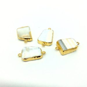 Shop Agate Shapes! Medium Sized Gold Plated White Agate Freeform Shaped Connectors – Measuring 20mm – 25mm Long, Approx. – Sold Individually, Random | Natural genuine stones & crystals in various shapes & sizes. Buy raw cut, tumbled, or polished gemstones for making jewelry or crystal healing energy vibration raising reiki stones. #crystals #gemstones #crystalhealing #crystalsandgemstones #energyhealing #affiliate #ad