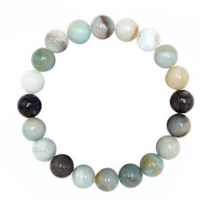 """Shop Amazonite Bracelets! Multi-Color Amazonite Bracelet Smooth Round Size 10mm 8mm 7.5"""" Length 