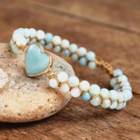 Natural Amazonite Stone Bracelet-healing Gemstone Bracelet-spiritual Protection Meditation Bracelet-mental Health Inner Peace Bracelet Gift | Natural genuine Gemstone jewelry. Buy crystal jewelry, handmade handcrafted artisan jewelry for women.  Unique handmade gift ideas. #jewelry #beadedjewelry #beadedjewelry #gift #shopping #handmadejewelry #fashion #style #product #jewelry #affiliate #ad