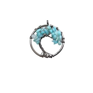 """Shop Amazonite Chip & Nugget Beads! 1.15"""" (29mm) Gunmetal Plated Copper Wire Wrapped Tree of Life Focal Pendant with Light Amazonite Chip Beads – Sold Individually/Random   Natural genuine chip Amazonite beads for beading and jewelry making.  #jewelry #beads #beadedjewelry #diyjewelry #jewelrymaking #beadstore #beading #affiliate #ad"""