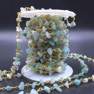 Shop Amazonite Beads! Amazonite Rosary Chain Wholesale Gemstone Chips Chain Wire Wrapped Jewelry Handmade Silver&Gold Rosary Style Chain Custom Length CCN | Natural genuine beads Amazonite beads for beading and jewelry making.  #jewelry #beads #beadedjewelry #diyjewelry #jewelrymaking #beadstore #beading #affiliate #ad
