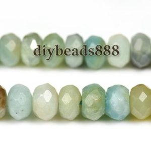 Shop Amazonite Faceted Beads! 15 inch strand of Mix color Amazonite faceted rondelle abacus beads 4x6mm 5x8mm for Choice | Natural genuine faceted Amazonite beads for beading and jewelry making.  #jewelry #beads #beadedjewelry #diyjewelry #jewelrymaking #beadstore #beading #affiliate #ad