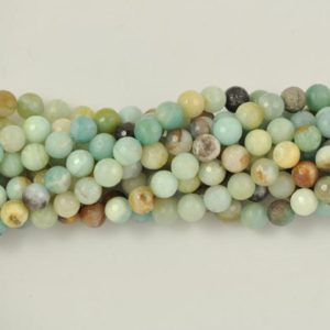 Amazonite 4mm  6mm,8mm,10mm,12mm Round Faceted Gemstone Bead -15.5 inch strand | Natural genuine faceted Amazonite beads for beading and jewelry making.  #jewelry #beads #beadedjewelry #diyjewelry #jewelrymaking #beadstore #beading #affiliate #ad