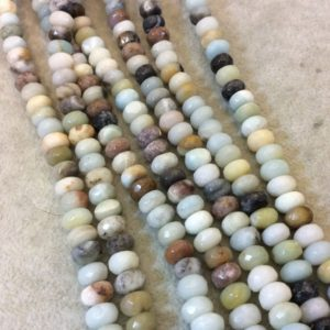 """Shop Amazonite Faceted Beads! 5mm x 8mm Faceted Mixed Amazonite Rondelle Shaped Beads with 1mm Holes – 16"""" Strand (Approx. 79 Beads) – Natural Semi-Precious Gemstone   Natural genuine faceted Amazonite beads for beading and jewelry making.  #jewelry #beads #beadedjewelry #diyjewelry #jewelrymaking #beadstore #beading #affiliate #ad"""