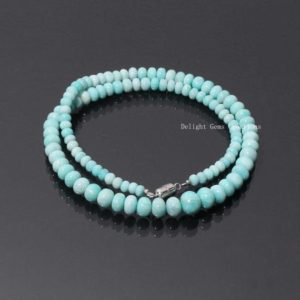 Shop Amazonite Necklaces! AAA++ Quality AMAZONITE Beaded Necklace,6-11mm Amazonite Smooth Rondelle Beads Necklace,Peruvian Amazonite Rondelle Christmas Gift Necklace | Natural genuine Amazonite necklaces. Buy crystal jewelry, handmade handcrafted artisan jewelry for women.  Unique handmade gift ideas. #jewelry #beadednecklaces #beadedjewelry #gift #shopping #handmadejewelry #fashion #style #product #necklaces #affiliate #ad