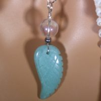 Amazonite Carved Angel Wing & Angel Aura Healing Stone Necklace With Positive Healing Energy! | Natural genuine Gemstone jewelry. Buy crystal jewelry, handmade handcrafted artisan jewelry for women.  Unique handmade gift ideas. #jewelry #beadedjewelry #beadedjewelry #gift #shopping #handmadejewelry #fashion #style #product #jewelry #affiliate #ad
