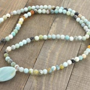 Shop Amazonite Necklaces! Amazonite Long Necklace, Light Blue Briolette Bead Gemstones, Silver Jewelry, 28 inches long, Birthday Gifts | Natural genuine Amazonite necklaces. Buy crystal jewelry, handmade handcrafted artisan jewelry for women.  Unique handmade gift ideas. #jewelry #beadednecklaces #beadedjewelry #gift #shopping #handmadejewelry #fashion #style #product #necklaces #affiliate #ad