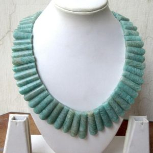 Shop Amazonite Necklaces! Natural Blue Amazonite Layout Necklace, Bib Necklace, Cleopatra Necklace, Graduated Collar Necklace, 17x18mm To 38x9mm, 21 Inch, GDS970 | Natural genuine Amazonite necklaces. Buy crystal jewelry, handmade handcrafted artisan jewelry for women.  Unique handmade gift ideas. #jewelry #beadednecklaces #beadedjewelry #gift #shopping #handmadejewelry #fashion #style #product #necklaces #affiliate #ad
