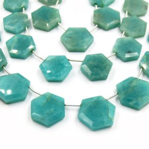 Shop Amazonite Bead Shapes! Amazonite Beads | Hand Cut Indian Gemstone | Hexagon Shaped Beads | High Quality Amazonite | Loose Gemstone Beads | Two Sizes Available | Natural genuine other-shape Amazonite beads for beading and jewelry making.  #jewelry #beads #beadedjewelry #diyjewelry #jewelrymaking #beadstore #beading #affiliate #ad