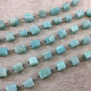 Shop Amazonite Bead Shapes! Gunmetal Plated Copper Wrapped Rosary Chain With 8-12mm Natural Amazonite 3d Square / cube Shaped Beads – Sold By 1' Cut Sections Or In Bulk! | Natural genuine other-shape Amazonite beads for beading and jewelry making.  #jewelry #beads #beadedjewelry #diyjewelry #jewelrymaking #beadstore #beading #affiliate #ad