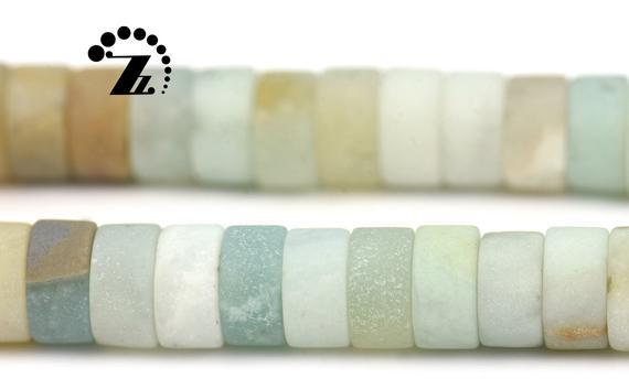 """Multicolor Amazonite, Matte Heishi Spacer Bead,mixed Color Amazonite, Natural,gemstone,diy Beads, 2x4mm 3x6mm For Choice,15"""" Full Strand"""