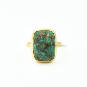 Shop Amazonite Rings! Gorgeous Amazonite Ring, 13x18mm Cushion Green Amazonite Copper Gemstone Rings, Sterling Silver Rings, 18k Gold Plated Green Gemstone Ring   Natural genuine Amazonite rings, simple unique handcrafted gemstone rings. #rings #jewelry #shopping #gift #handmade #fashion #style #affiliate #ad
