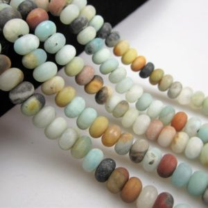 """Shop Amazonite Beads! 2.0mm Hole Amazonite Matte Rondelle Beads 5x8mm 6x10mm 8"""" Strand 
