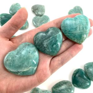 Amazonite heart, polished amazonite, crystal heart, heart shaped crystal | Natural genuine stones & crystals in various shapes & sizes. Buy raw cut, tumbled, or polished gemstones for making jewelry or crystal healing energy vibration raising reiki stones. #crystals #gemstones #crystalhealing #crystalsandgemstones #energyhealing #affiliate #ad